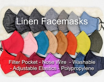 LINEN Facemask! 3 Layer Reusable Olson Style Facemasks with Nose Wires, Adjustable Sliders, Filter Pockets and Polypropylene Layer