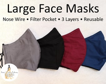 LARGE FACEMASKS! Wide 3 Layered High Quality, Washable Face Masks with Nose wire, Filters Pocket, and Adjustable Elastics!
