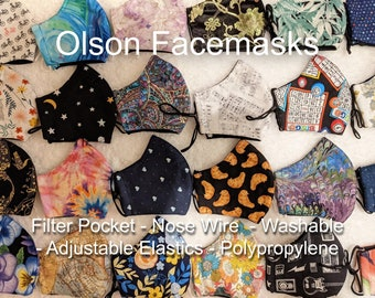 Facemask! First Collection! 3 Layer Reusable Olson Facemask with Nose Wires, Adjustable Sliders, Filter Pockets and Polypropylene Layer