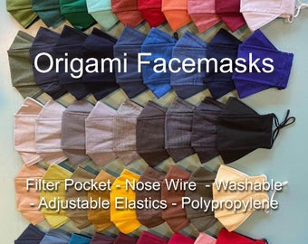 Facemask! 3 Layer Reusable Origami Facemask with Nose Wires, Adjustable Sliders, Filter Pockets and Polypropylene Layer