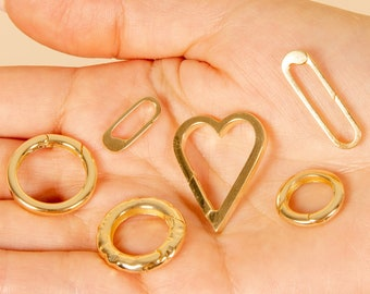 14k Gold Connector Clasp / Solid 14k Gold / Paperclip Push Clips / Circle Enhancer Charm Pendant / Openable Lock Extenders for Chains