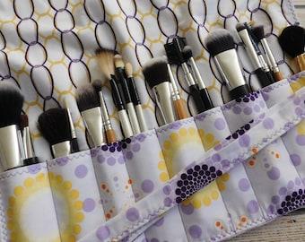 Makeup Brush Holder Chocolate Brown Brush Roll Crochet Hook Case Brush Holder Makeup Artist Case Travel Bag Makeup Brush Roll