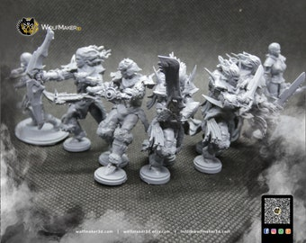Kalitus Defenders, fantasy human heroes, warrior, soldier, archer, city guardian, armored warrior, fantasy miniature, resin, board games