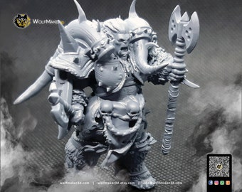 Molor the Destroyer Orc, berserker orc 3d printed figure, orc fantasy, miniature, orc figure, perfect for fantasy boardgames and wargames