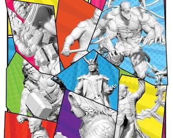 Marvel heroes, marvel action figures, Superheroes, Miniatures, Heroes, Marvel, scale miniatures, MCP, comics, resin, Marvel Crisis Protocol