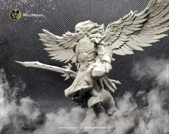 Warrior angel, seraph, fighting archangel, fantasy miniature, angelic warrior, fantasy creatures, resin, board games, figures