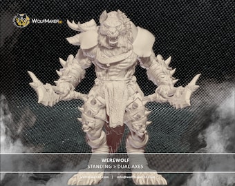 Werewolf warrior, ferocious werewolf, wolf monster, werewolf, beastman, scale miniature, board game character, resin
