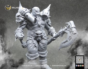 Daragmun, Orc Warrior Orc Lord, Armored Berserker, Orc Warrior, Warrior Miniature, 3D fantasy Miniature for tabletop
