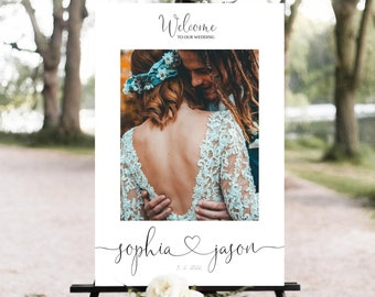 Welcome Photo Wedding Sign Template, Welcome Sign, Editable Wedding Poster, Wedding Sign