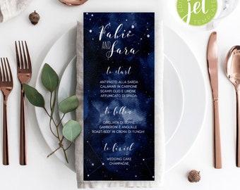 Starry Night Wedding Menu Template, Celestial Menu Template, Starry Night Menu card template, Instant Download, Menu Printable