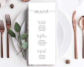 Wedding Menu Template, Minimal Wedding Menu, Minimal Wedding Menu template, Instant Download