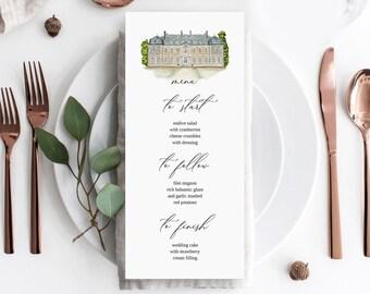 Wedding Menu Template with venue sketch, Minimal Wedding Menu, Minimal Wedding Menu template, Instant Download