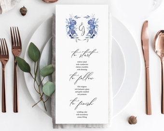 Watercolor crest Wedding Menu template, Floral Crest Watercolor Menu card template, Instant Download, Menu Printable