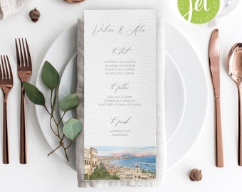 Napoli cityscape Wedding Menu template, Italy Menu card template, Instant Download