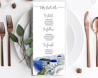Santorini Wedding Menu Card, Greece menu template, Instant Download