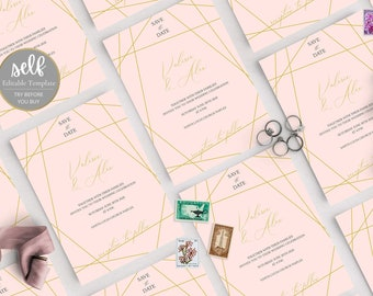 Geometric Gold Wedding Save the date Template Download, Printable Wedding  Save the date Template Download, Faux Gold  Save the date