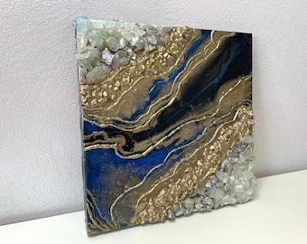 Geode Small Art, Blue and Gold Geode Art, Blue Quartz Crystal Home Decor, Small Luxury Art, Blue Crystal Art
