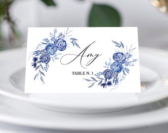 Wedding Place Card Template, Blue floral place card template