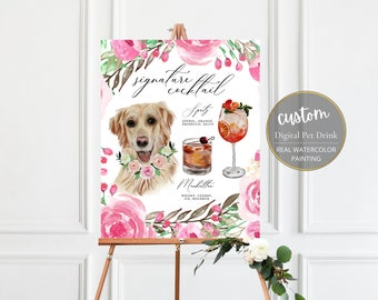 Custom dog signature drink, signature cocktail sign, pet signature drink