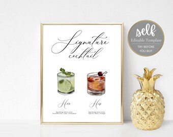 Printable Signature Cocktail Sign, signature drink sign, bride and groom sign, wedding bar sign