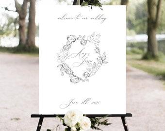 Botanical Wedding Welcome Sign Template