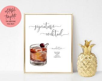 Printable Manhattan Signature Cocktail Sign, signature drink sign, wedding bar sign