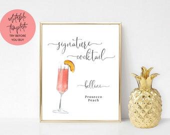 Bellini Signature Cocktail Sign, Printable signature drink sign, wedding bar sign