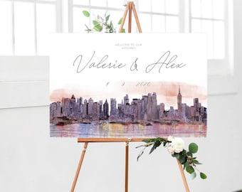 New York Wedding Welcome sign, New York ceremony sign, New York wedding signage, Wedding sign, Printable, editable sign, Manhattan