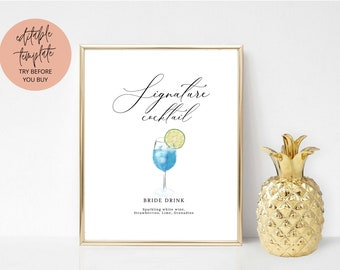 Printable Signature Cocktails Sign | Editable Signature Cocktails Template | Printable Bar Menu Sign Template | Signature Drinks Sign