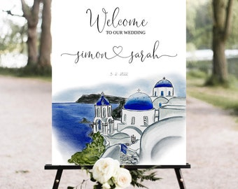 Santorini Wedding Welcome sign, Greece ceremony sign, Santorini wedding signage, Wedding sign, Printable, editable sign