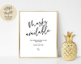 Masks Available Sign, Printable COVID Sign, Wedding COVID Sign, Masks sign, Wedding mask sign, Face masks sign printable