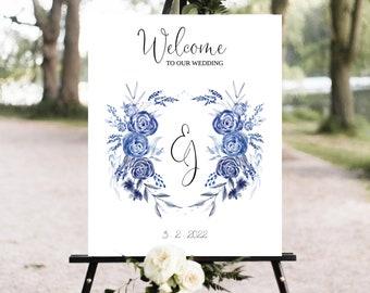 Welcome Wedding Sign Template with Wedding Crest, Wedding Crest Welcome Sign, Editable Wedding Poster, Wedding Sign