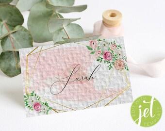 Pink geometric floral Wedding Place Card, Boho Watercolor Wedding Place Card, Bohemian Wedding, Wedding Template, Wedding Name Card