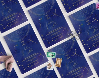 Celestial Save the Date, Save the Date Template, Navy, Starry Night, Galaxy, Constellation, Moon, Luna, Astrology, Instant Download
