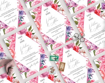 Pink Floral Wedding Save the date Template Greenery White Rose Printable Wedding Save the date Instant Download Editable