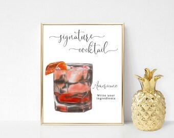 Printable Negroni Signature Drink Sign, Americano Signature Cocktail Sign, Wedding Bar Sign