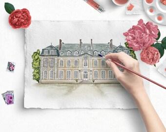 Custom wedding venue illustration, wedding venue watercolor, wedding venue sketch