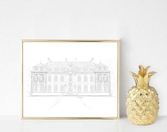 Wedding venue sketch, custom wedding venue painting, wedding venue watercolor