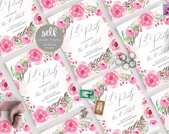 Pink Floral Birthday Invitation Template, Girl Watercolor Birthday Invite, Printable Birthday Invitation