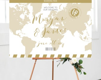 Map wedding welcome sign,  Travel ceremony sign, destination wedding sign, World ceremony sign, editable template sign download