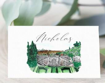 Wedding Venue Place Card Template Set, Destination Wedding Place Card, Printable Template