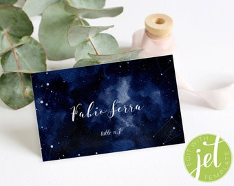 Starry Night Wedding Place card Template, Constellations Wedding Place Template, Wedding Place card Download, Flavour