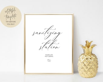 Wedding Sanitizing Station Sign Template, wedding sanitizer sign, Sanitizing Station Sign Printable, Fully Editable, INSTANT Download