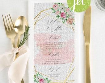 Floral geometric Wedding Menu, Geometric Gold Menu Template, Boho Watercolor Menu card template