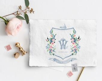 Custom wedding crest, Watercolor crest, Custom Crest, Wedding, Family Crest, Heraldry, Monogram, Hand Painted Wedding Stationery