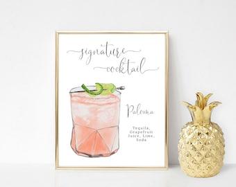 Printable Paloma Signature Cocktail Sign, Signature Drink Sign, Wedding Bar Sign