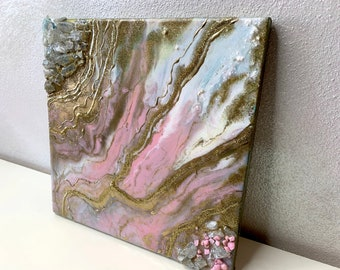 Geode Small Art, Pink and Gold Geode Art, Pink Quartz Crystal Home Decor, Small Luxury Art, Pink Crystal Art