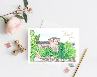 Wedding Thank You Card with wedding venue painting, Travel wedding theme, wedding stationery, Editable Template, Thank You Cards Wedding