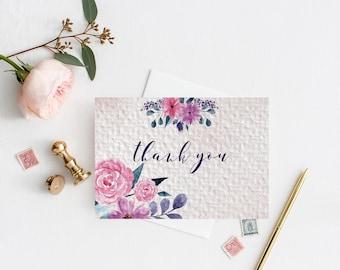 Lilac floral Wedding Thank you card, Boho Wedding, Watercolour Wedding Template, Lavender  Wedding thank you, Printable Template