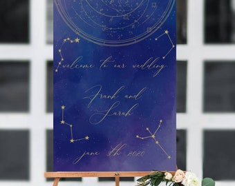 Celestial Wedding Welcome Sign, Starry Night Wedding Sign Template